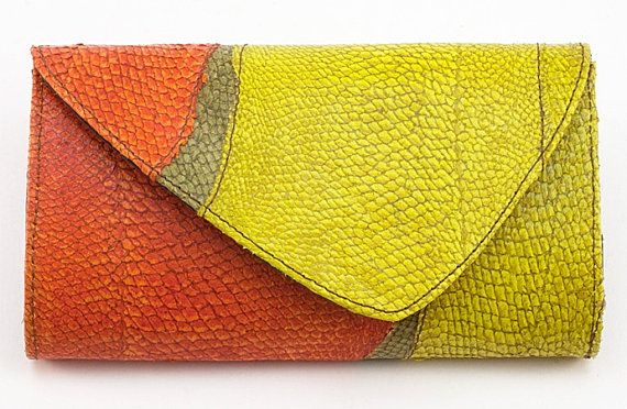 Handmade orange and green fish leather wallet  foldover by Vibys
