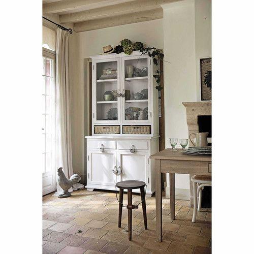 Vaisselier en bois de paulownia blanc L 110 cm
