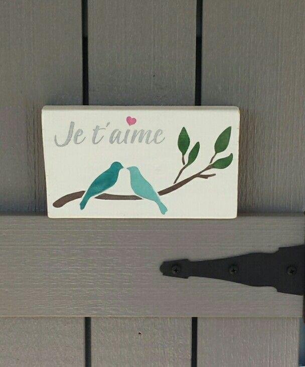 I rescued this piece of wood from being fire wood and then did a little painting! #kjcreations #paintinglife #loveit #rustic #crafts #farmhousechic #homedecor #diy #LoveYou #birds #jetaime