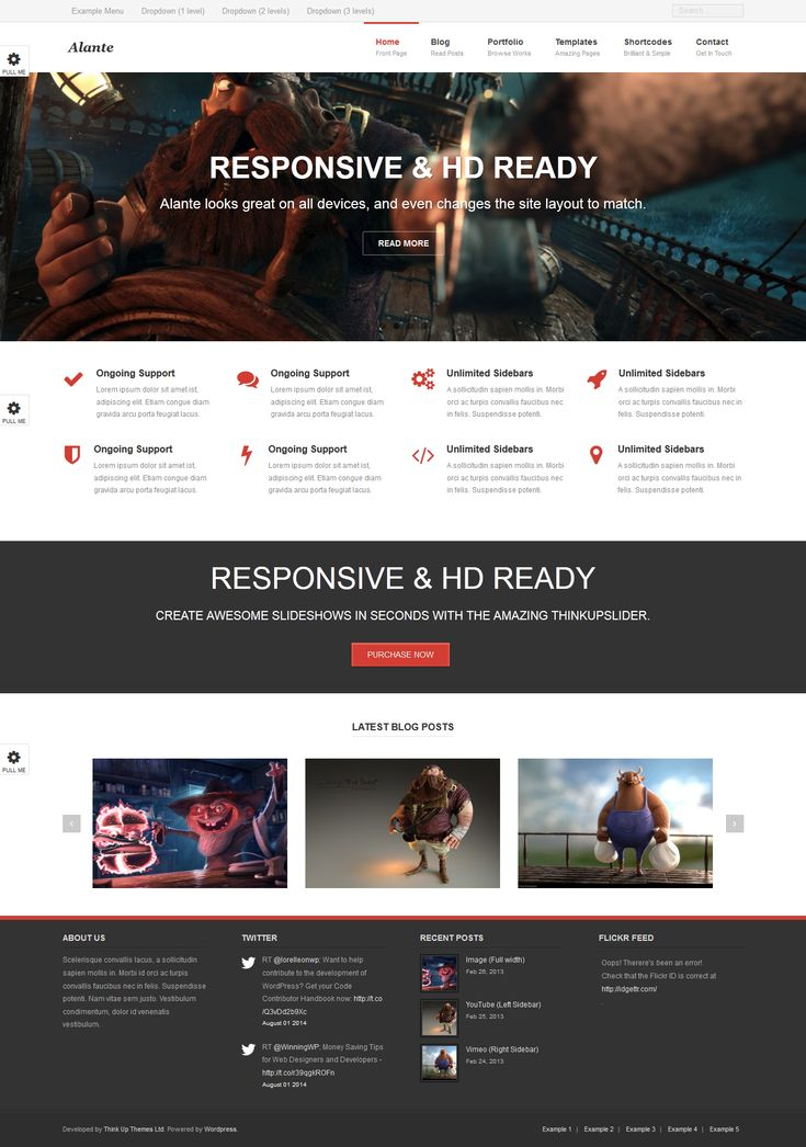 Alante  from ThinkUp Themes - a cool wordpress theme.