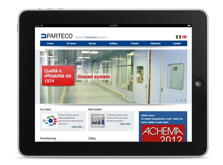 #Webdesign and development of Parteco #cleanroom web site. A cleanroom or clean room is an environment, typically used in manufacturing or scientific research, that has a low level of environmental pollutants such as dust, airborne microbes, aerosol particles and chemical vapors. Click here to read the case study. http://www.firewebprojects.com/case-studies/parteco.aspx