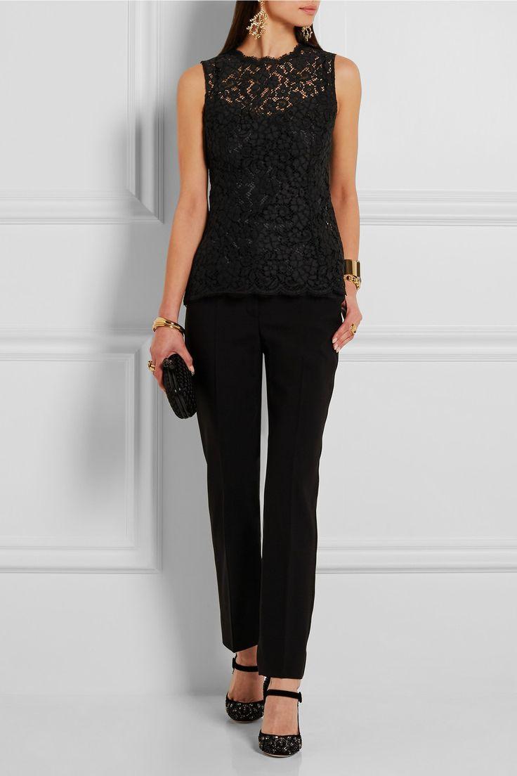 Dolce & Gabbana   Scalloped cotton-blend lace top   NET-A-PORTER.COM