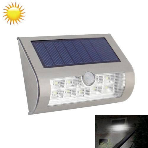 [$11.22] 4V 9 LED White Light Outdoor Solar Motion Sensor Light for Yard / Garden / Stairs / Outside Wall(Silver)