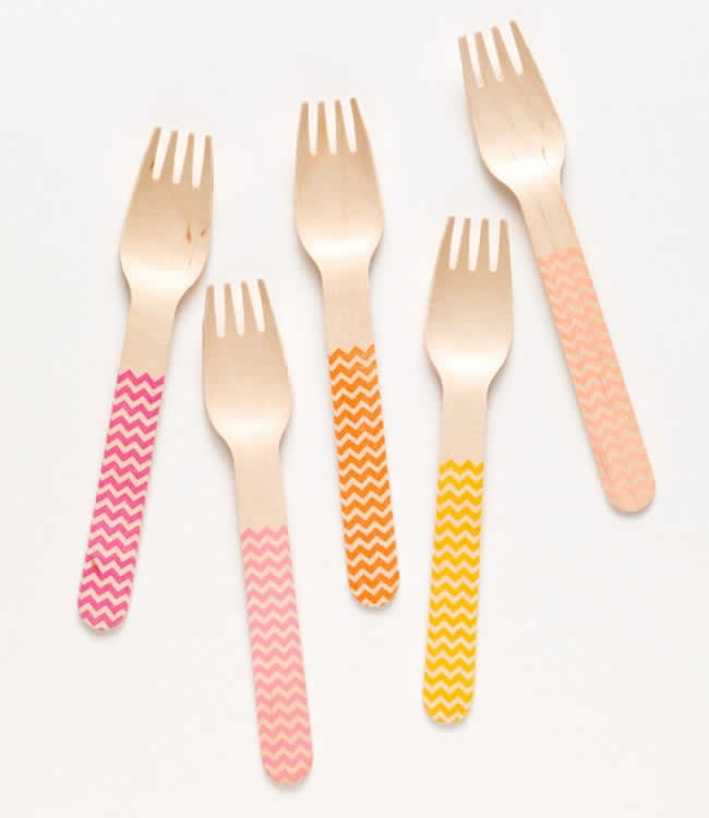 Cute sunset chevron pattern wooden forks from Sucre Shop!  6.5 inches for one time use and Eco-friendly and cute! They are standard size and NOT the small ice cream size.  select set of 20 spoons or forks   $10.00