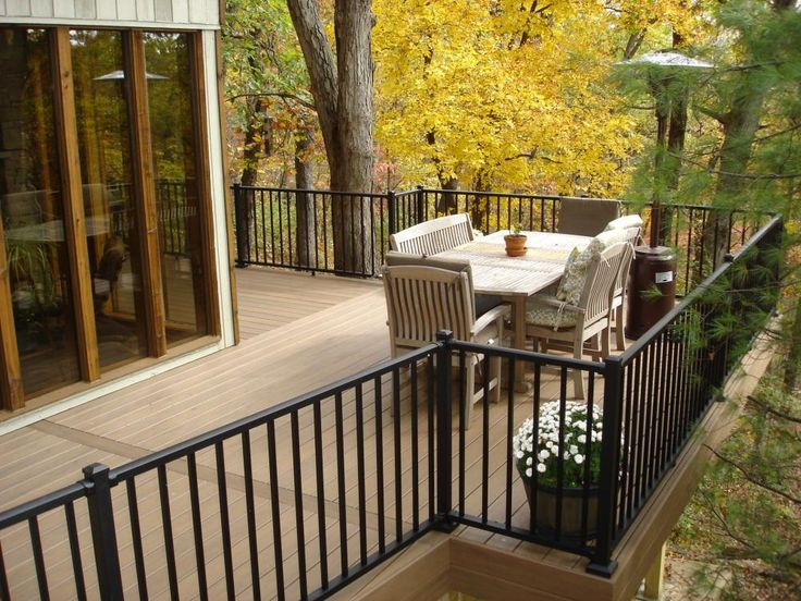 Decks st louis timbertech pecan deck with westbury aluminum railing wildwood missouri