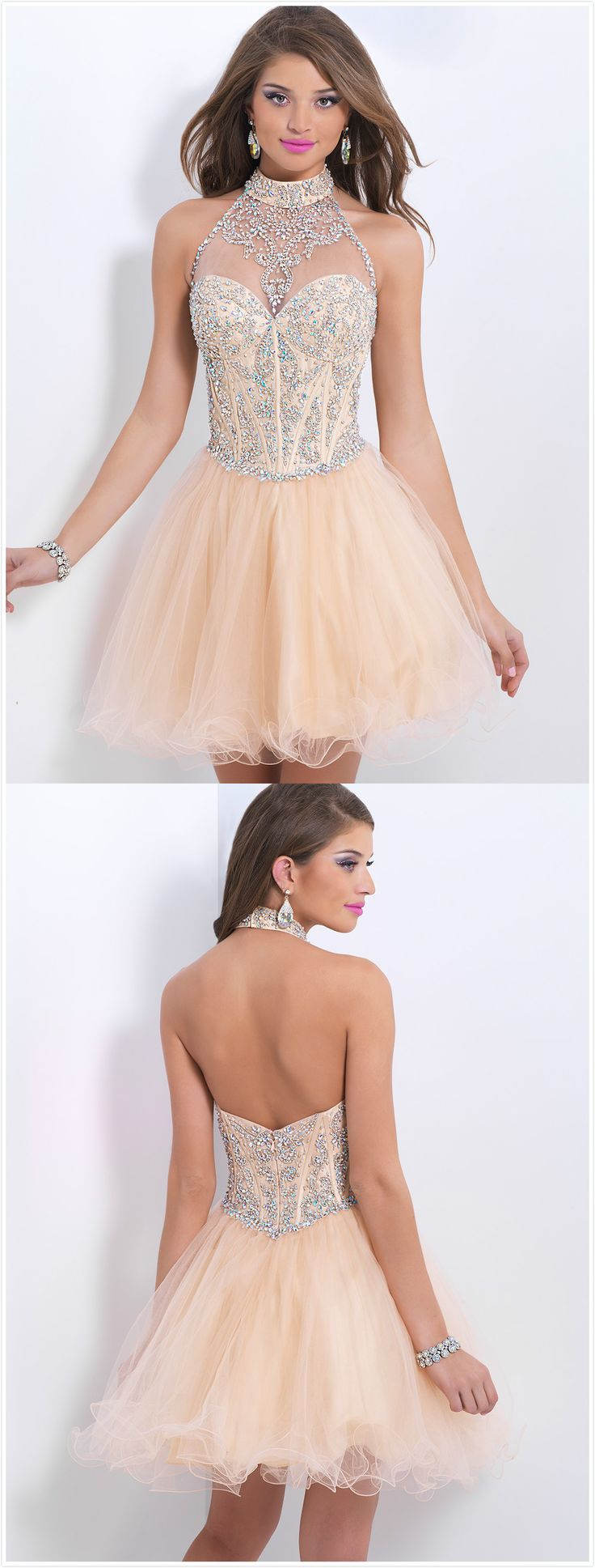 #homecoming dress, love the beading work, really amazing! Love the open back with halter neck, sexy!