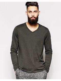 ASOS Long Sleeve T-Shirt With V Neck - Black