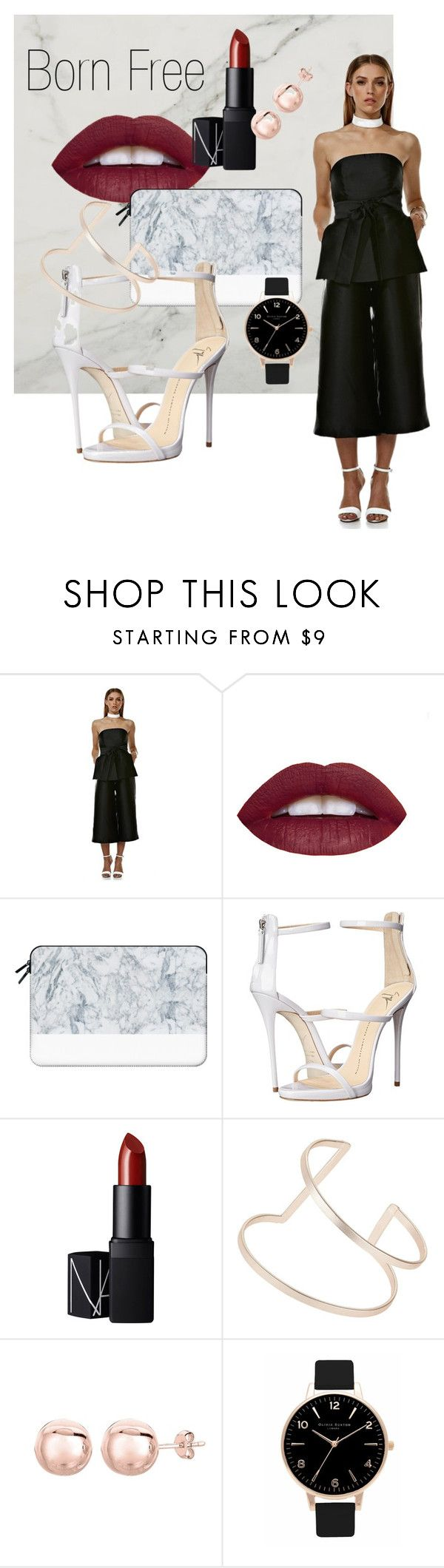 """""""Born Free Jumpsuit"""" by swishclothing-official on Polyvore featuring Casetify, Giuseppe Zanotti, NARS Cosmetics, Topshop, Olivia Burton, women's clothing, women, female, woman and misses"""
