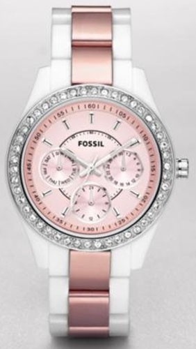 white and pink Fossil watch with a little bling!