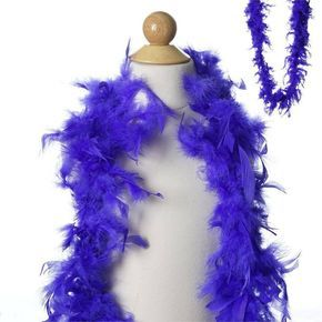 Lush-chandelle turkey Feather Boas, Color-Royal Blue, Size-5-6inch x 2yards 50g | eFavorMart / Make a dramatic statement with our stunning feather boas made from premium turkey feathers. Because of their inherent beauty and natural flowing quality, Turkey feathers are used in making upscale standard boas. They are soft, lush, and so very glamorous! Add an ethereal touch to your costumes with our comely turkey feather boas that reflect high class and a swish charm. Our silky soft feather boas…