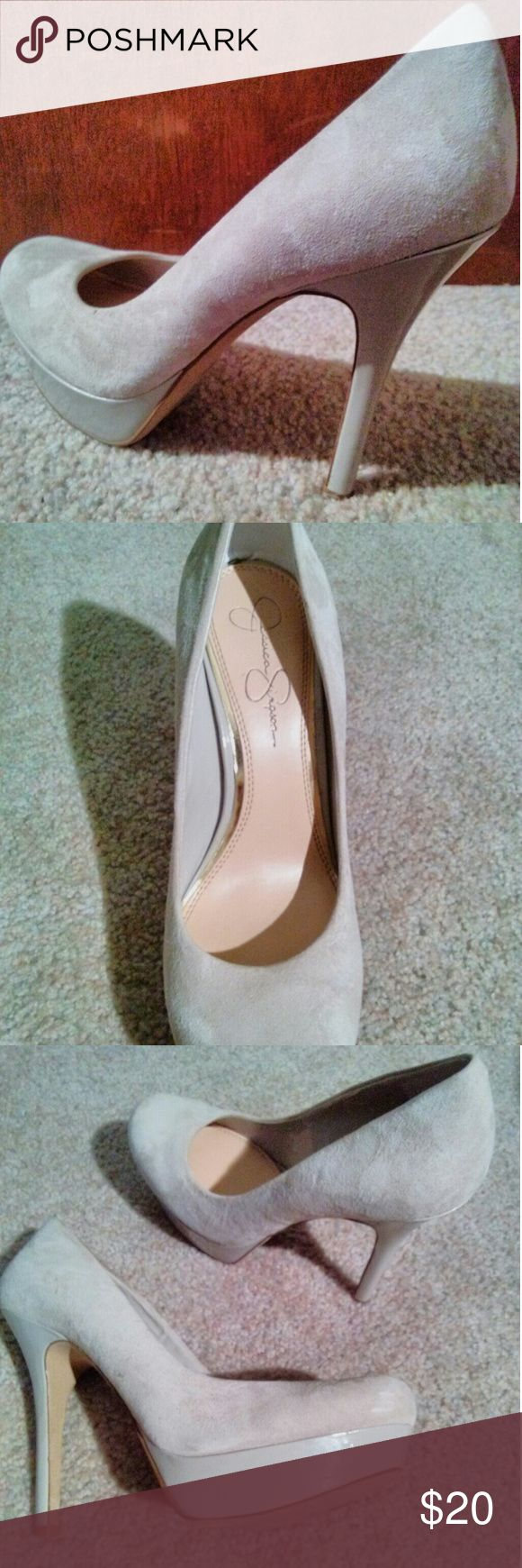 Jessica Simpson pumps Super comfortable Jessica Simpson beige, suede platform pumps Jessica Simpson Shoes Heels