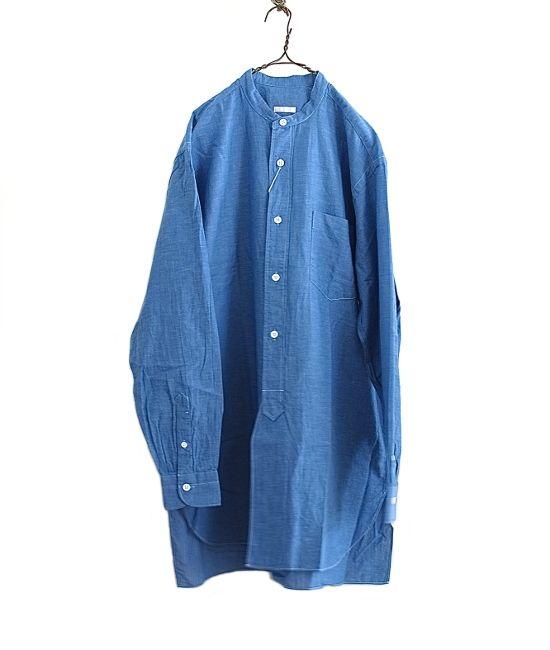COMOLI ベタシャンバンドカラーシャツ(BLUE) - FLORAISON