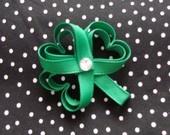 St Patricks Day Green Shamrock Hair Bow Clip #EasyPin