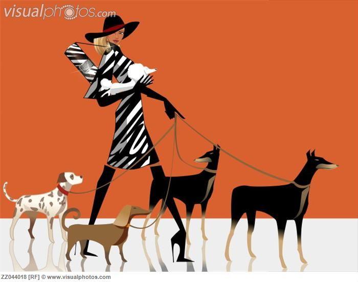 clipart girl walking dog - photo #48