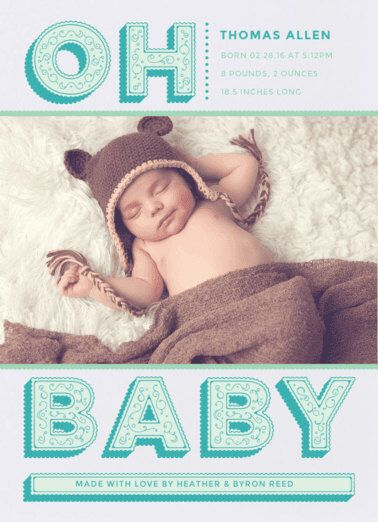 Oh Baby Birth Announcement. Baby. Design Fee by PartyGlamourShopBaby on Etsy https://www.etsy.com/listing/262524403/oh-baby-birth-announcement-baby-design