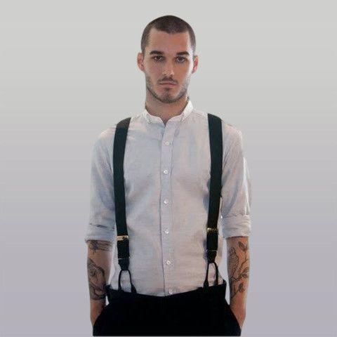 Black Top-grain Leather Suspenders | Street Style Deals
