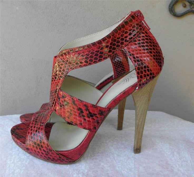 Wittner Saskia Ladies Shoes Red / Black Snakeskin Leather Heels 38 / 7 EUC