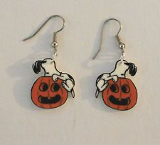 SNOOPY HALLOWEEN EARRINGS CHARMS PUMPKIN