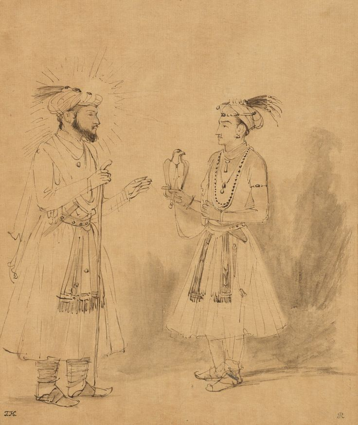 Rembrandt (Rembrandt Harmenszoon van Rijn), 1606-1669, Dutch, Shah Jahan and Dara Shikoh, c.1654-1656.  Brown ink and gray wash with scratchwork; 21.3 × 17.8 cm.  J. Paul Getty Museum, Los Angeles.   Dutch Golden Age, Baroque.