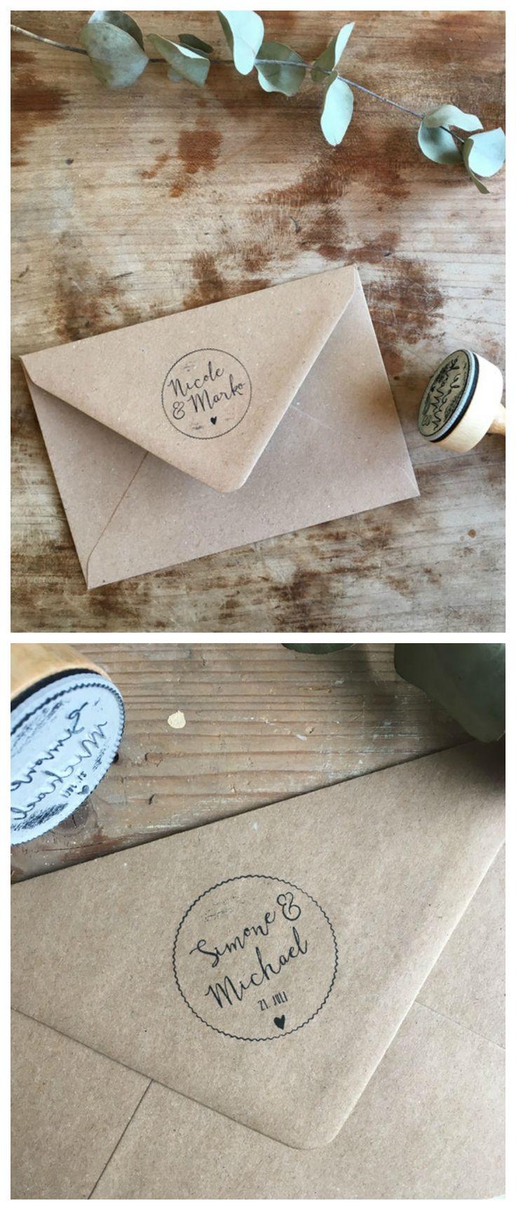 Individueller Stempel für Deine Hochzeitseinladungen, Hochzeitsdeko / customizable wedding stamp to tag your wedding invitations made by zartmint via DaWanda.com