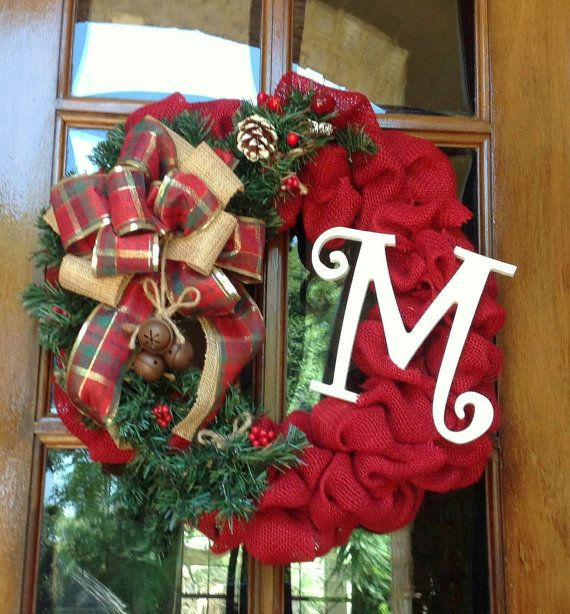 This rustic Country Christmas wreath is handmade using quality red burlap and secured to a wire frame. Bringing heartfelt warmth this Christmas