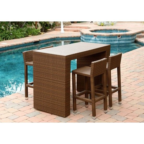Abbyson Living Palermo Outdoor Brown Wicker 5-piece Dining Bar Set ($760) ❤ liked on Polyvore featuring home, outdoors, patio furniture, outdoor patio sets, brown, outdoor dining sets, outside bar stools, 5 piece dining table set, outdoor wicker bar stools and outdoor wicker patio sets