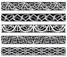 Maori Borders vector art illustration