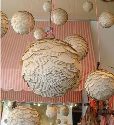 repurpose old books: Ideas, Old Books Pages, Paper Lanterns, Crafty, Decoration, Book Pages, Paper Balls, Diy, Crafts