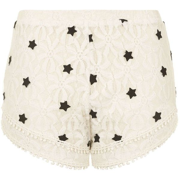 TOPSHOP Pinball Lace Shorts By Native Rose (€38) ❤ liked on Polyvore featuring shorts, topshop, cream, cream shorts, star shorts, cream lace shorts, lacy shorts and lace shorts