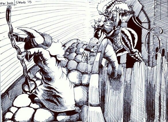 """""""You shall not pass!"""" Favorite book scene, pen & ink illustration."""
