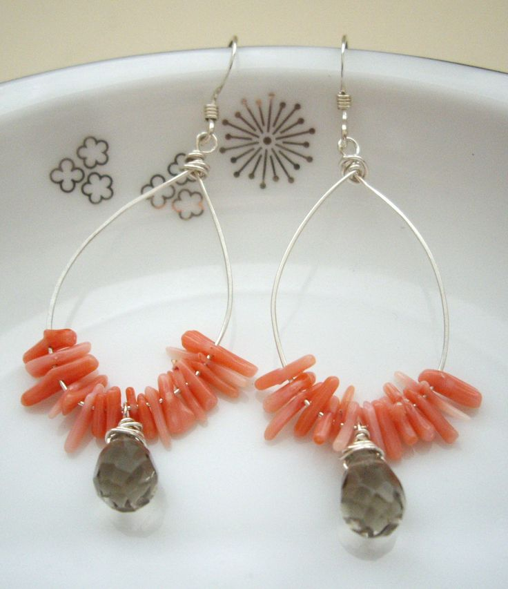 Coral Smoky quartz SV 925 wire SV 925 ear wires