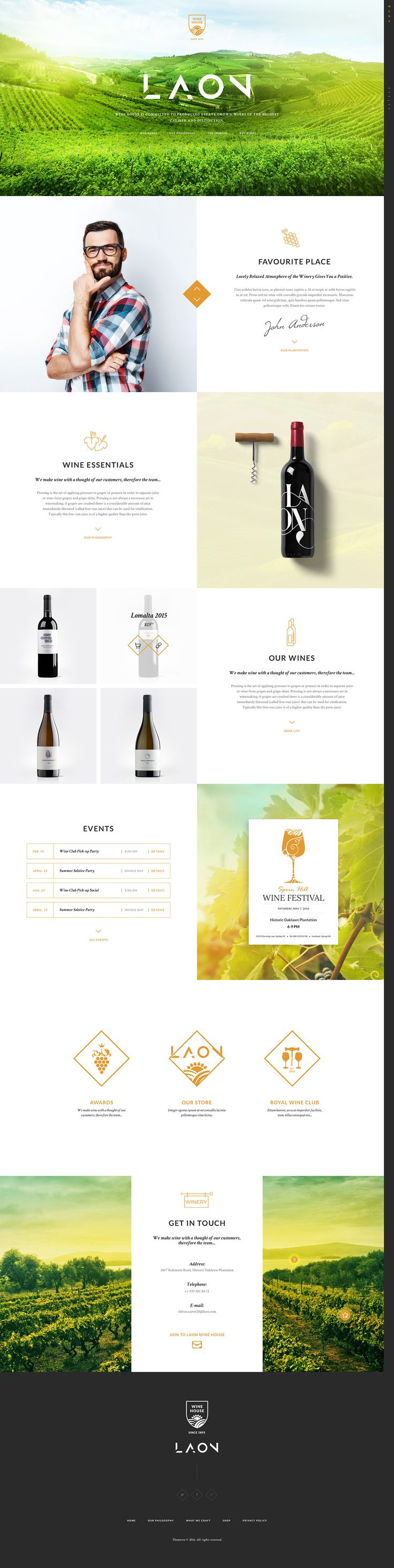 Laon is a WordPress theme crafted for winery/vineyard websites, online wine shops, wine restaurants and food & wine blogs. You can also use it to build a website related to agritourism.