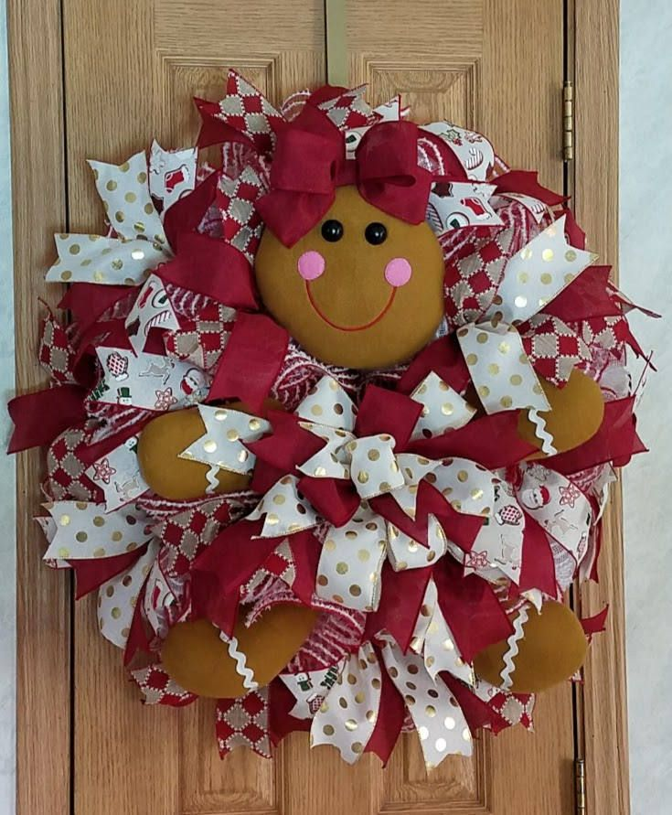 Gingerbread Mesh Wreath, Christmas Wreath, Gingerbread Decor,Front Door Decor, Front Door Wreath,Mesh Decor,Holiday Wreath, Kitchen Decor by MeshWreathsnMore on Etsy