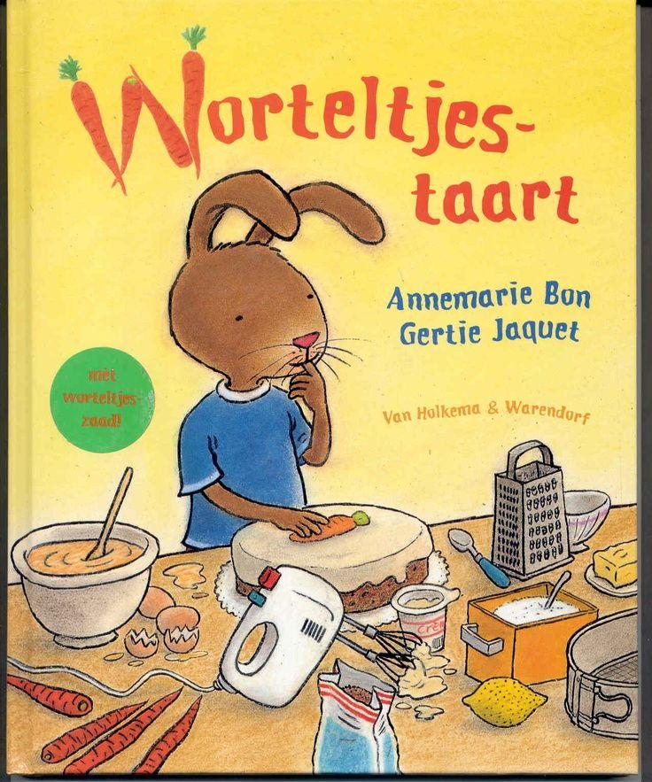 Worteltjestaart / Annemarie Bon; Gertie Jaquet. Haas heeft zo'n zin in worteltjestaart! Maar wat een pech. Bakker Big verkoopt geen worteltjestaart. Hij heeft wel een recept. http://www.bibliotheekbreda.nl/iguana/uploads/specials/kbw2009/Worteltjestaart.html
