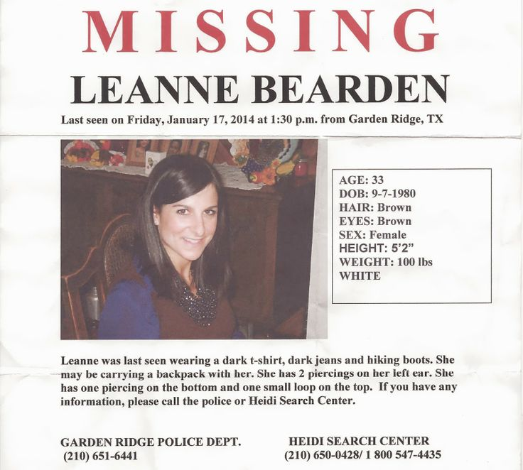 Body Of Missing Garden Ridge Woman Leanne Bearden Found In: 656 Best Images About The Missing/Famous Cases/Trials