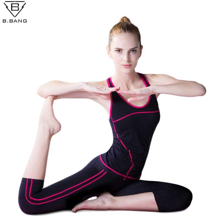 B. bang女性スポーツyogaセットベストパンツスーツ用ワークアウト実行フィットネストレーニング服女の子スポーツシャツ女性スポーツウェア