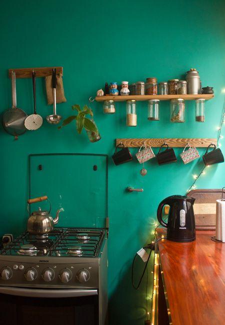 Gorgeous jade & timber kitchen.
