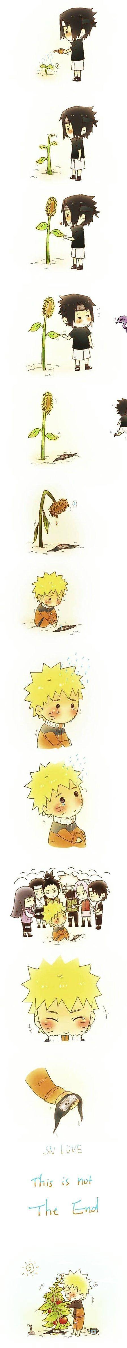 Naruto and Sasuke: Fun fact, Naruto at the end is probably growing tomatoes because Sasuke loves tomatoes.