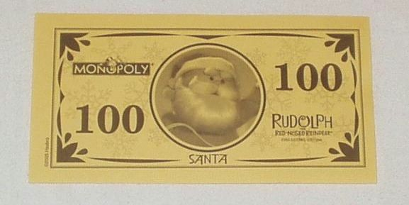 Rudolph the Red-Nosed Reindeer Monopoly | Détail d'un billet du Monopoly Rudolph the Red-Nosed Reindeer