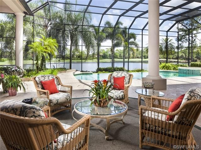 Tropical screened lanai outdoor living pool columns Outdoor