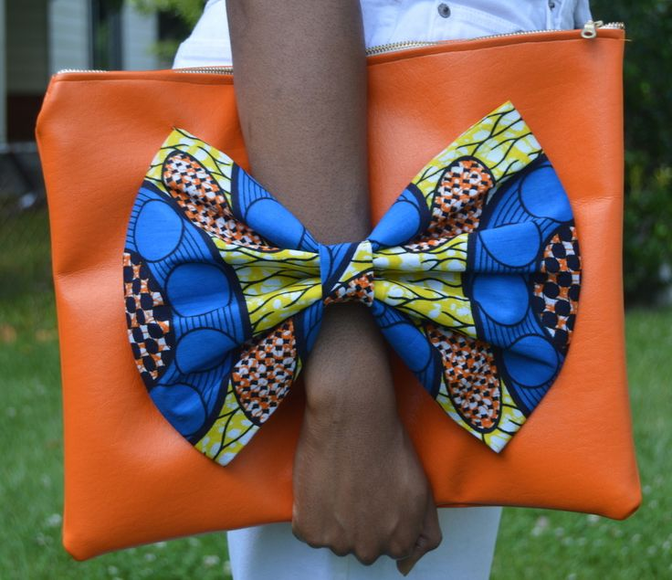 Orange Ankara Billie Jean Bowtie Bag