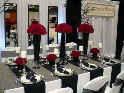 red black silver table setting pictures - Google Search