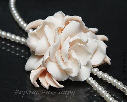 Длинное жемчужное ожерелье с цветком в стиле 20-х годов - кремовый,свадебные украшения