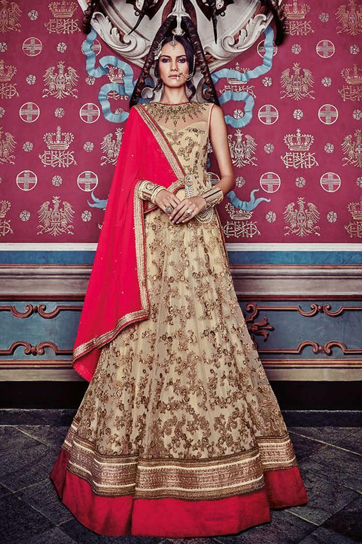 Beige Net Embroidered Anarkali Salwar Suit