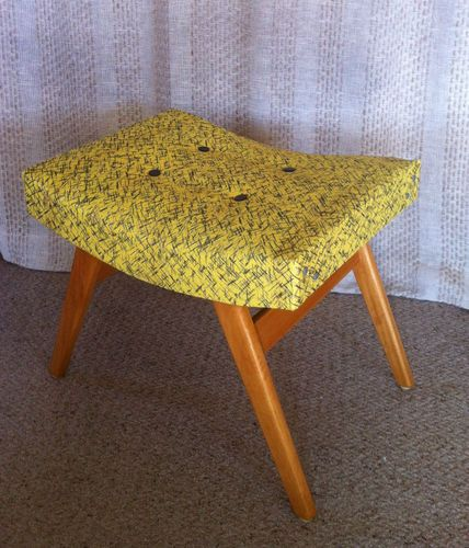 Retro 50 S Vintage Patterned Vinyl Curved Foot Stool Seat