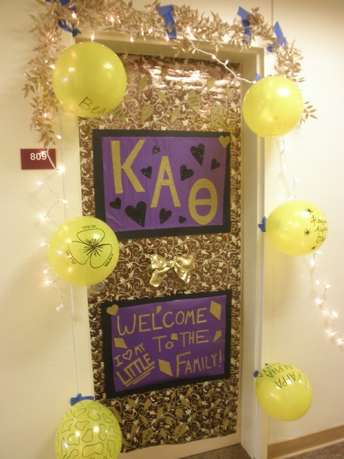 I kept my poster when my door was decorated on bid night. I loved it because each lineage had a unique saying welcoming it's newest little. You can also at streamers to decorate!