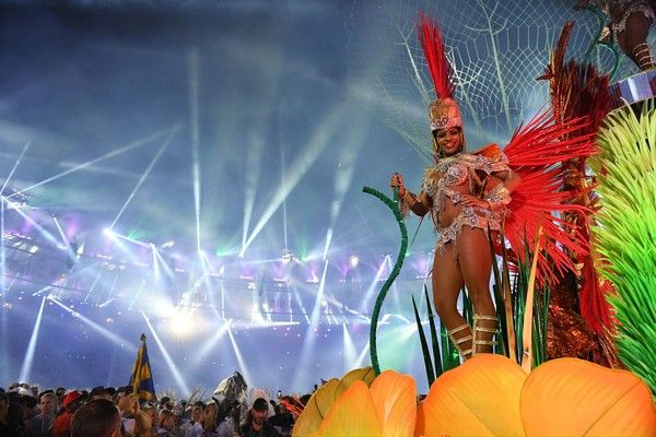 A dancer performs during the closing ceremony of the Rio 2016 Olympic Games at…