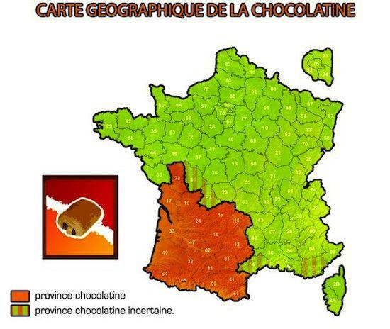 Chocolatines vs pains au chocolat ! au delà de la zone rouge, aucun boulanger ne comprendra ce qu'est une chocolatine quand  vous passerez commande :)