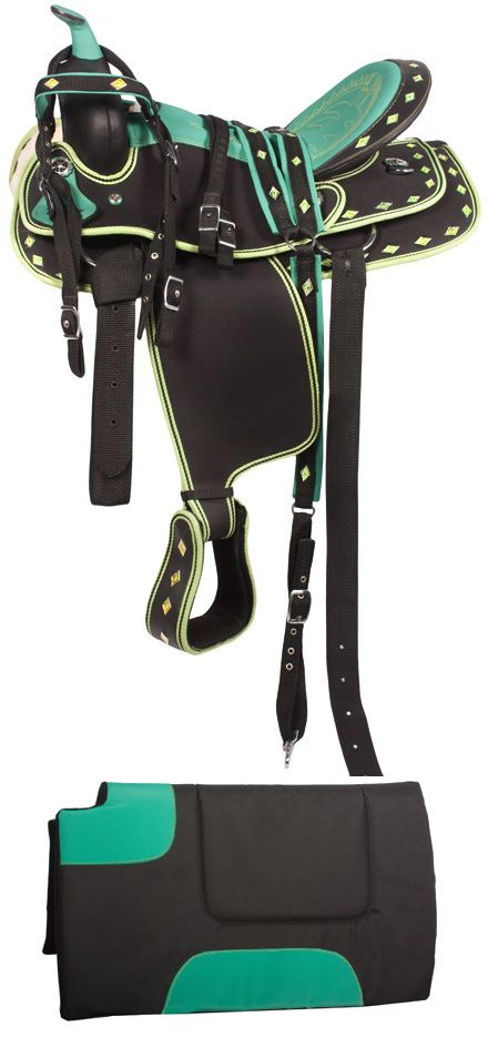 Not usually into colored saddles, but this is pretty cool. Green Ostrich Synthetic Western Saddle Tack Set 14