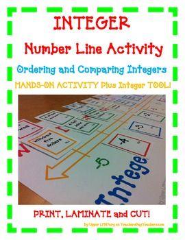 INTEGER Number Line - positive negative -FUN Hands-On Activity